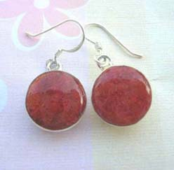 Red coral circular, 925 sterling silver earring