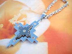New age clear cz cross stainless steel pendant