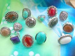 Gemstone fashion jewelry semi-precious stone rings