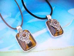 Square tiger eye gemstone pendant necklace