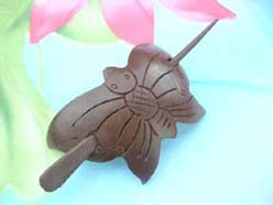 butterfly handcrafted coconut hairpin made in Bali