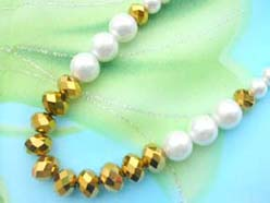 necklace bracelet earring jewelry set with imitation pearl and gold color faceted bead