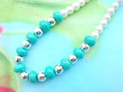 necklace bracelet earring jewelry set with imitation pearl and genuine turquoise beads, silver bead
