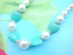 necklace bracelet earring jewelry set with imitation pearl and genuine turquoise beads, cz spacer bead