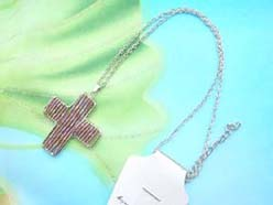 handmade jewelry beadwork pendant cross necklace mixed colors
