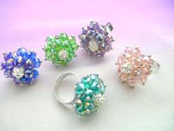 adjustable iredencent rhinestone rings