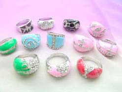wholesale cloisonne enamel ring embeded with crystal cz
