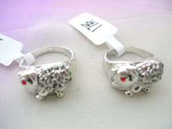 elephant ring with red cz eye