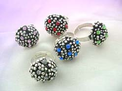adjustable size vintage cz silver dots rings