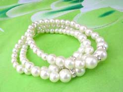 3 rows Faux Pearl Stretch bracelet,white, cz spacer beads prom bridal jewelry