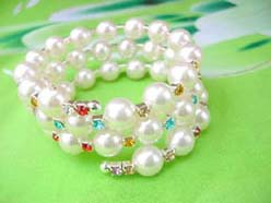bridesmaid jewelry imitation pearl and color cz beaded wrap-around bracelet