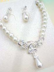 Rhinestone Beaded Faux Pearl Bridal Design Jewelry Set