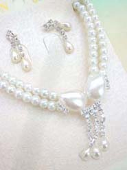 Rhinestone Beaded Imitation Pearl Bridal Jewelry