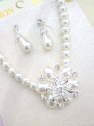 Wholesale bridal jewelry imitation pearl necklace earring