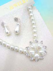 wholesale rhinestone jewelry wedding accessories floral faux pearl jewelry set