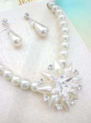 costume jewelry earring necklace sets, beaded faux pearl cubic zirconia jewelry