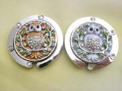 wholesale Women Bag Accessory Folding Bag Hook Handbag Hanger Holder Crystal Enamel Owl, color may varied