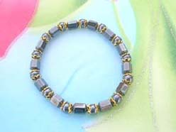hematite bracelet with gold color spacer