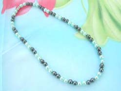 wholesale hematitle necklace with blue faux pearl beads and magnetic clasp