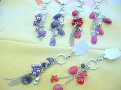 dangle charms beads keyring wholesale, red pink purple beads