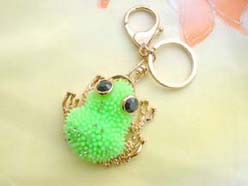 bright green gold tone frog with cz keychain keyring