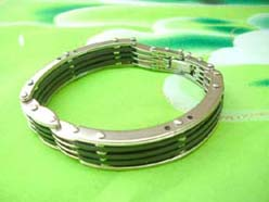 men's jewelry wholesale stainless steel bracelet rubber link chain