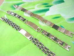 Organic Jewelry Stainless Steel ID Plate Link Bracelet