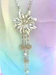 fashion long chain necklaces with cz flower design