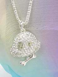 cz rhinestone long chain necklace face and bone, chain in silver color
