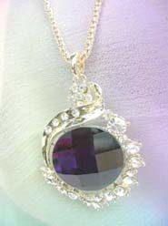 large black cz pendant long necklace wholesale, chain in light gold color
