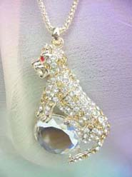 large cat puma clear cz necklace, chain in light gold color