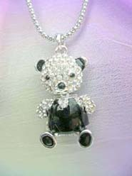 wholesale cheap jewelry long necklace with crystal and black cz panda pendant, chain in silver color