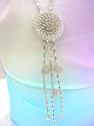 Floral Silver Chain Tassel Long Necklace, chain in silver color