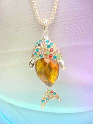 costume jewelry necklace with crytal yellow cz fish pendant, chain in light gold color