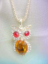 wholesale fashion necklaces owl with amber color cz crystal, chain in light gold color