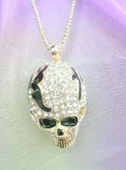 wholesale gothic jewelry skull cz pendant long encklaces, chain in light gold color