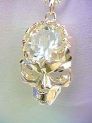 wholesale goth vampire jewelry crystal cz skull necklace, chain in light gold color