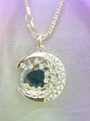 large cz moon pendant necklace celestial jewelry, chain in light gold color