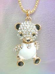 panda pendant necklaces embeded with cz crystals, chain in light gold color