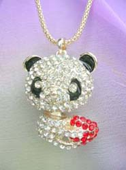 baby panda crystal jewelry fashion accessories long necklace, chain in light gold color