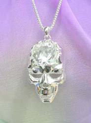 clear cz rhinestone skull necklace, chain in silver color