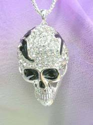 cz skull necklace costume jewelry wholesale, chain in silver color