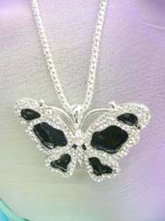 rhinestone butterfly pendant necklace, chain in silver color