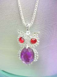 owl animal jewelry purple cz pendant necklace, chain in silver color