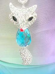 blue fox cz crystal pendant necklace, chain in silver color