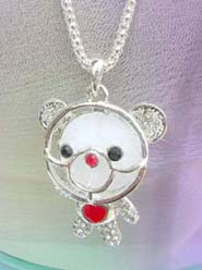 cz bear crystal jewelry necklace, chain in silver color