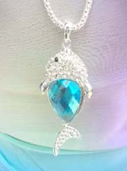 wholesale sealife jewelry blue cz fish necklace, chain in silver color