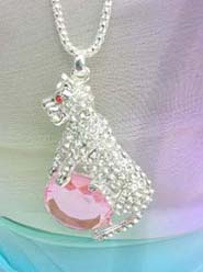 wild animal puma pink cz jewelry long necklace, chain in silver color