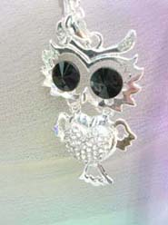 owl jewelry long necklace, chain in silver color
