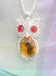 amber color cz owl pendant necklace, chain in silver color